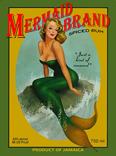 A SLICE IN TIME Mermaid Pin Up Jamaica Jamaican Rum Caribbean Island Beach Vintage Travel Advertisement Art Collectible Wall Decor Poster Print. Poster Measures 10 x 13.5 inches -