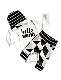 Cute Newborn Baby Boy Girl Romper Tops +Long Pants Hat 3PCS Outfits Set Clothes