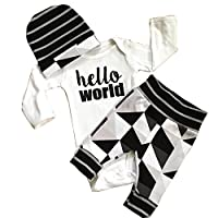 Cute Newborn Baby Boy Girl Romper Tops +Long Pants Hat 3PCS Outfits Set Cloth...