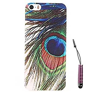 LIMME Peacock Feathers Pattern Hard Case & Touch Pen for iPhone 4/4S