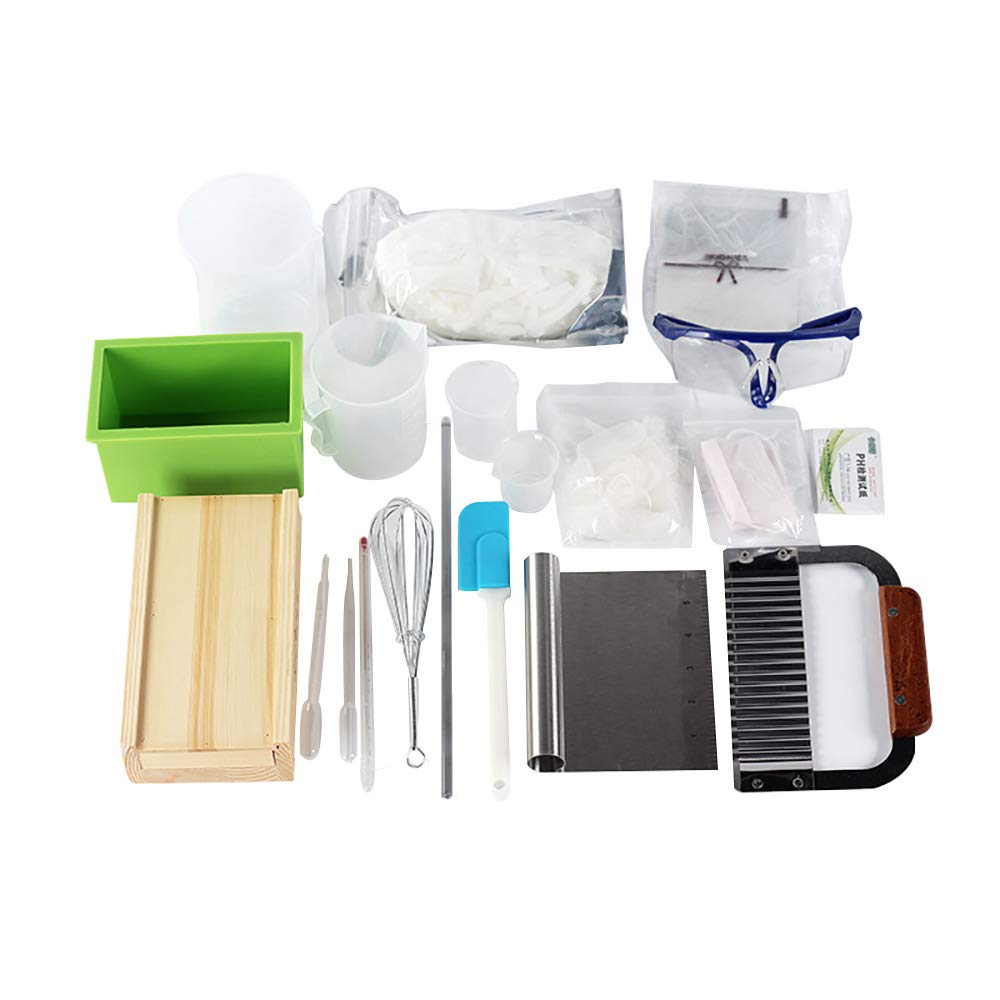 Complete DIY Soap Making Supplies kit- 20 Pieces Full Beginners Set Including Silicone Mold, Planer Wood Box, Soap Base, Spatulas, Pipette and More