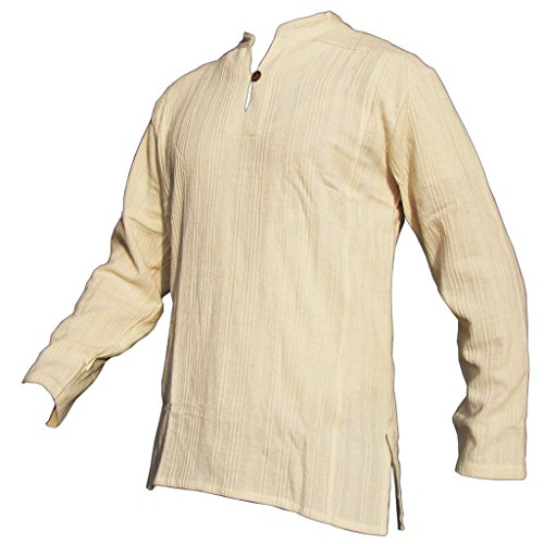 PANASIAM Fisherman Hemd, aus 100% echter freshrunk Baumwolle, naturweiss, XL, langarm