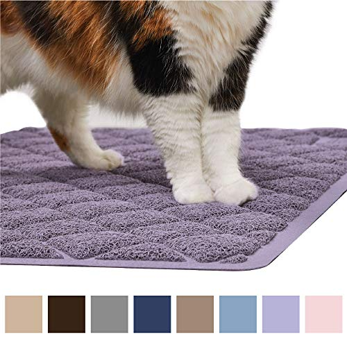 Gorilla Grip Original Premium Durable Cat Litter Mat (35x23), XL Jumbo, No Phthalate, Water Resistant, Traps Litter from Box and Cats, Scatter Control, Soft on Kitty Paws, Easy Clean Mats (Purple)