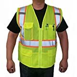 3C Products Class 2 Reflective Safety Vest Large Neon Green with Orange