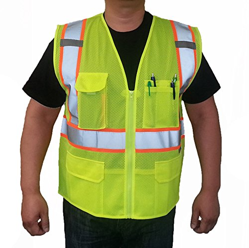 3C Products Class 2 Reflective Safety Vest 2XL Neon Green with Orange (Safety Lights Vests)