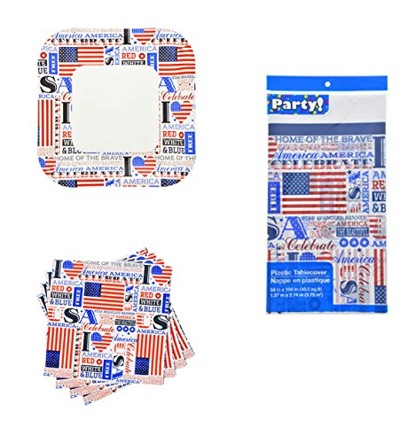 Patriotic Slogans Party Supplies Memorial Day Or 4th of July Bundle of 3 Items - Plates, Napkins & Tablecloth - Ivy Luncheon Plate