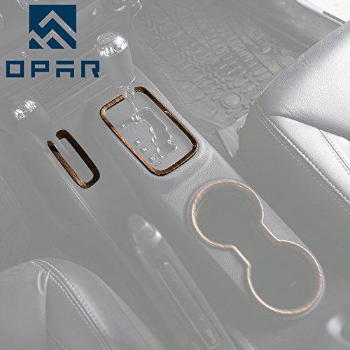 Opar Wood Grain Gear Shift Knobs Cover Trim for 2011-2018 Jeep JK Wrangler & (Wood Trim Boxes)