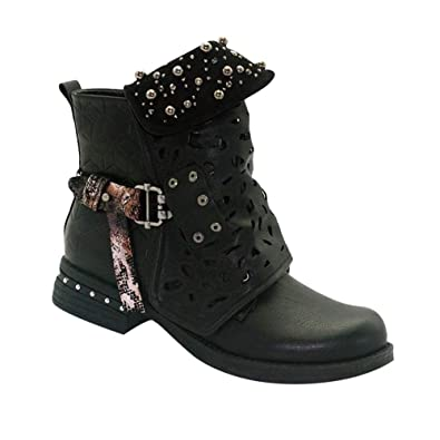 1a190d5dcef Amazon.com | Uirend Ankle Boots for Women Leather Casual Shoes - Ladies  Studded Western Heel Retro Wide Calf Pearl Hollow Out Buckle Biker Booties  Rivet ...