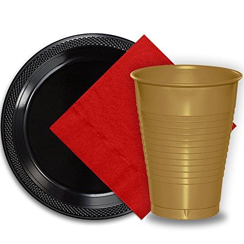 (50 Black Plastic Plates (9