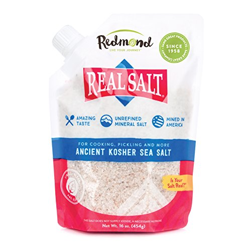 Gourmet Kosher Sea Salt - Redmond Real Sea Salt - Natural Unrefined Organic Gluten Free Kosher, 16 Ounce Pouch (1 Pack)