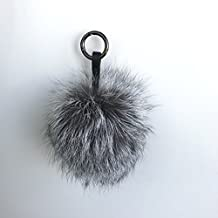 Woman Real Raccoon Fur Pom Pom For Mobile Strap Coppia Keychain Fluffy Fur Ball