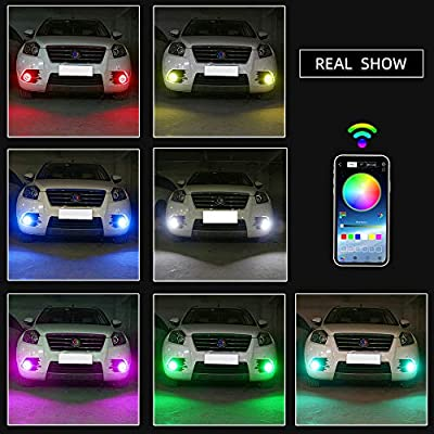 GrandviewTM 1-set 80MM Multi-Color RGB LED Halo Rings Light COB 81SMD Smart Phone iOS Android App Bluetooth Control Car Angel Eyes Circle Ring Headlight Lamp Daytime Running Lights(DRL)12V: Automotive