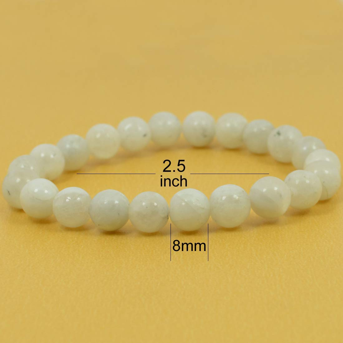 Reiki Crystal Products Natural Rainbow Moonstone Bracelet 8mm for Reiki Healing And Vastu Correction Protection Concentration Spirituality And Increasing Creativity