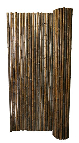 Backyard X-Scapes Black Rolled Bamboo Fence 1in D x 6ft H x 8ft L