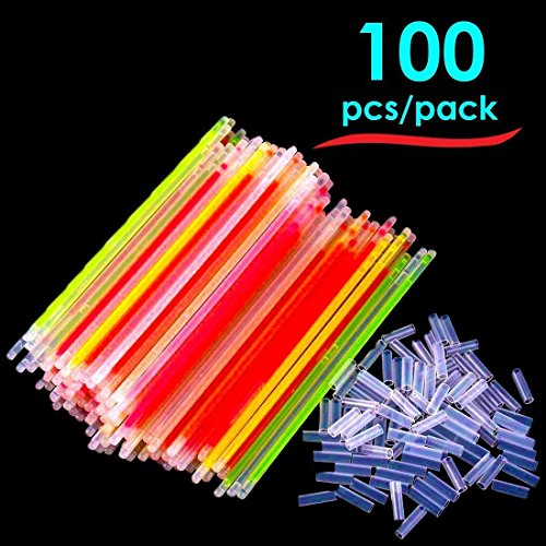 Toy Cubby Glow Stick Bracelets - Mega Pack of 100 Assorted Bright Neon Colors with 100 Connectors - 8 inch Long -