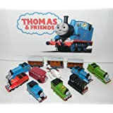 Thomas the Tank Engine Deluxe Mini Figure Plastic Set Toy Playset of 12 with Thomas, Percy, James, Harold the Helicopter, Passenger Cars and More!