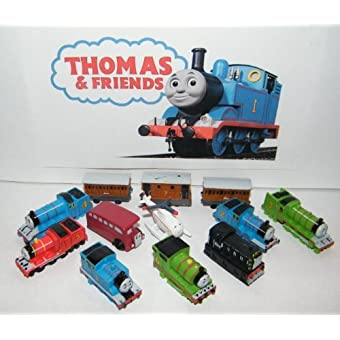 Engine Deluxe Mini Figure Plastic Set Toy Playset of 12 with Thomas Percy James Harold the Helicopter Passenger Cars and More