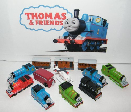 Thomas the Tank Engine Deluxe Mini Figure Plastic Set Toy Playset of 12 with Thomas, Percy, James, Harold the Helicopter, Passenger Cars and More! (Plastic Toy Train)