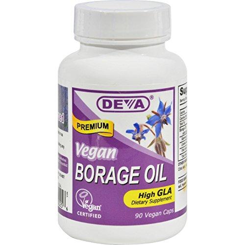 Deva Vegan Borage Oil - 500 mg - Omega-6 GLA - Gluten Free - 90 Vegan Capsules (Pack of 2) Deva Vegan Borage Oil