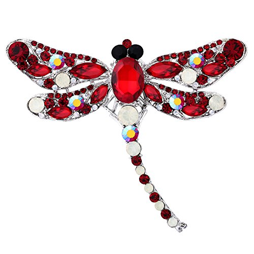 EVER FAITH Dragonfly Silver-Tone Teardrop Brooch Pin Red w/Opal Color Austrian Crystal ()