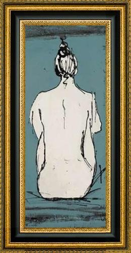 """Nude Sketch on Blue II by Patricia Pinto - 12"""" x 30"""" Framed Premium Canvas Print"""
