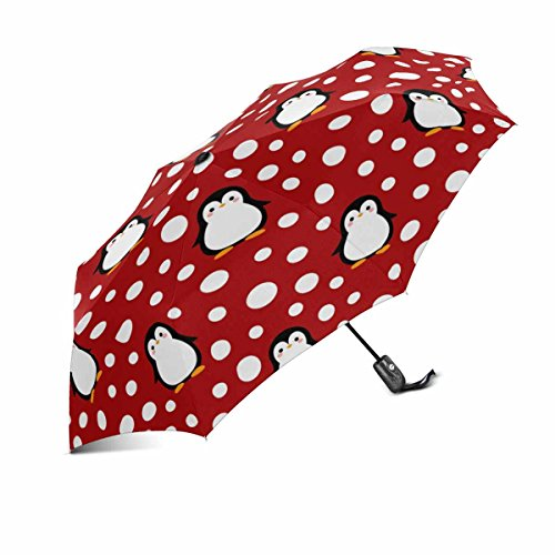 InterestPrint Cute Animal Penguin with Polka Dots Windproof Compact One Hand Auto Open and Close Folding Umbrella, Rain & Outdoor Unbreakable Travel ()