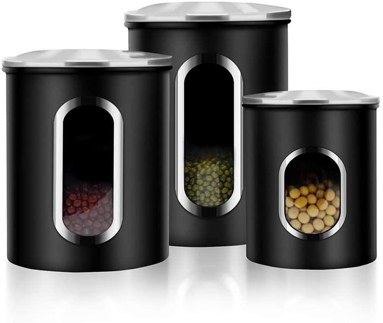Amazon Com Canisters Set 3 Piece Window Kitchen Canister With Fingerprint Resistance Lids Black Home Improvement