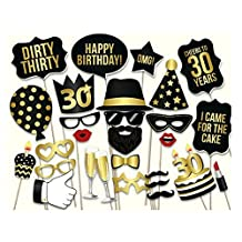 Miraclekoo 30th Birthday Party Photo Booth Props Party Favor Kit,28 Pcs