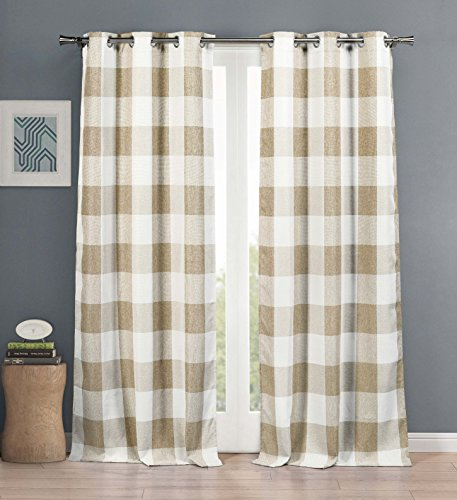 Blackout 365 Aaron Country Plaid Gingham Checkered Blackout Darkening Grommet Top Window Curtains Pair Drapes for Bedroom, Living Room-Set of 2 Panels, 37