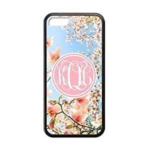 Pink Circle Monogram Cursive Initials with Japanese Cherry Blossom Beautiful luxury cover case for ipod touch 5 ipod touch 5(Black)ALL MY DREAMS