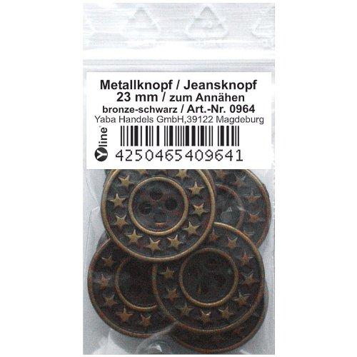 8 Metallknöpfe bronze - schwarz 23mm, zum Annähen Metall-, Jeans- Knopf Knöpfe, 0964