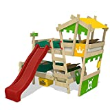 WICKEY Bunk Bed Crazy Castle Double-Children Bed Loft Bed with Slide, Stairs, roof and slatted Bed Base, applegreen-Yellow + red Slide