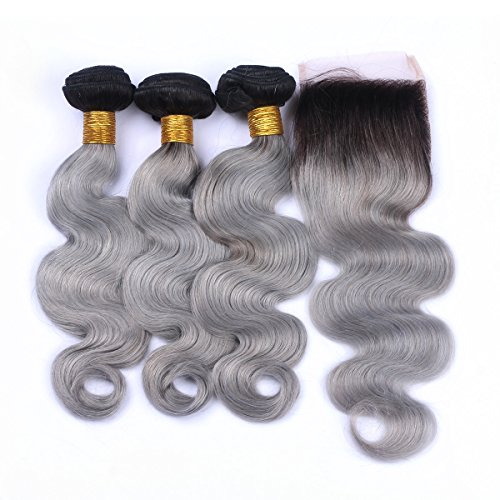 Riya-Hair-1B-Grey-3-Bundlespcs-with-Lace-Closure-Black-to-Grey-Ombre-Human-Hair-Extensions-with-Closure-Gray-Body-Wave-Brazilian-Virgin-Hair-Weaves-with-4X4-Closure