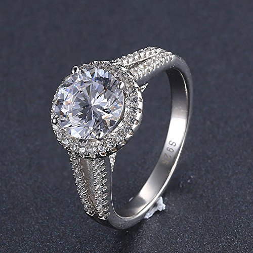 Mozume 3ct Round Cut Cubic Zirconia 925 Sterling Silver Engagement Wedding Halo Ring Fine Jewelry For Women Best Gift (7) by Mozume (Image #2)