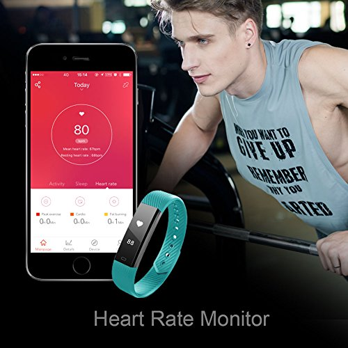 Fitness Tracker, LETSCOM Fitness Tracker Watch with Heart Rate Monitor,Slim Touch Screen and Wristbands, Wearable Waterproof Activity Tracker Pedometer,Green for Android and iOS