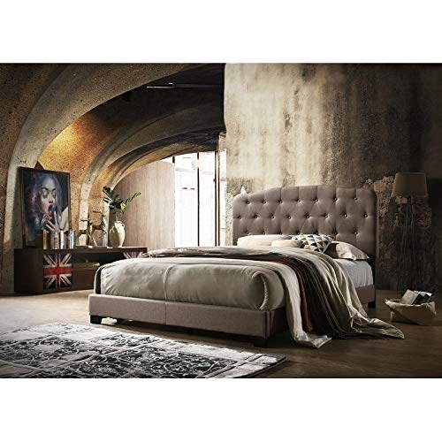 - HOMMAX FURNITURE Isabella Brown Linen Upholstered Bed Twin