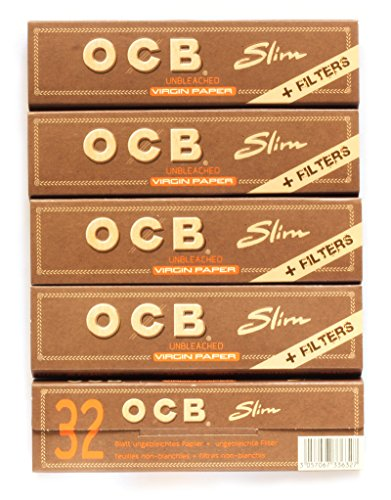 - 5 booklets OCB VIRGIN SLIM Unbleached Rolling paper King Size + FILTER TIPS