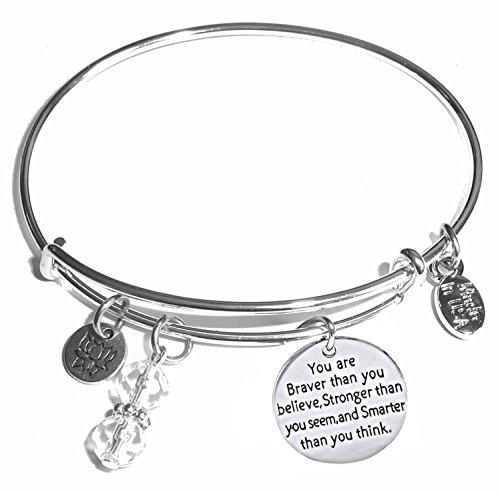 Message Charm (46 words to choose from) Expandable Wire Bangle Bracelet, in the popular style, COMES IN A GIFT BOX! (You are Braver than you believe, Stronger, - Popular Styles