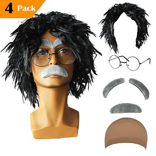 Old Man Mad Scientist Wig Set,Albert Einstien Costume Wig/Ben Benjamin Franklin Bald Cap Wig (Albert Einstien - -