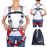 Oumers Kids' Climbing Harness, Full Body Harness, Safe Belts Guide Harness for Outward Band Expanding Training, Caving Rock Climbing Rappelling Equip, Safety Comfort (Medium Gray and Red)