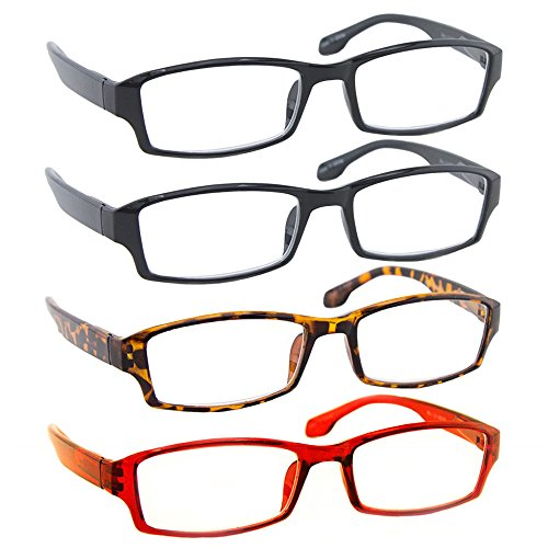 Reading Glasses _ Best 4 Pack _ 2 Black Tortoise Red for Men and Women _Have a Stylish Look & Crystal Clear Vision When You Need It!_Comfort Spring Arms & - Discount Glasses Shipping Free Reading