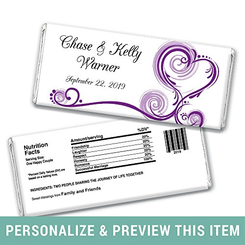 Wedding Favors for Guests DIY Personalized Wedding Wrappers for Hershey's Bars (25 Count) Purple