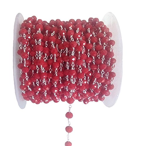 3 feet Coral Red Hydro Quartz Beads 6MM Silver Rosary Style Chain by BESTINBEADS, Hydro Quartz Gemstone Beaded Chain by The Foot, Quartz Beads Handmade Jewelry Chain, Quartz Beads Necklace Chain ()