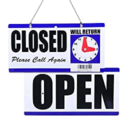 Eagle Open and Closed Sign, Plastic, with Hanging Chain, Double Sides with Will Return Clock, 6X11.5-Inches