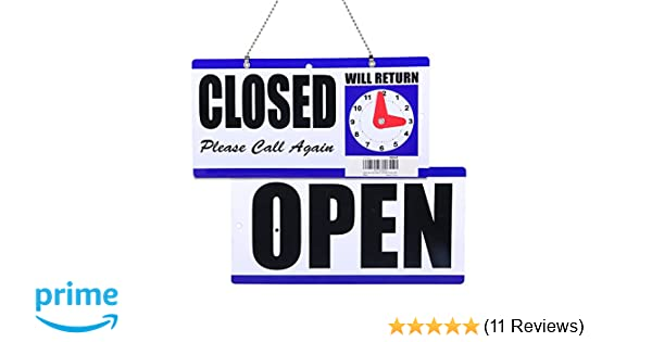 Eagle Open And Closed Plastic Hanging Sign WithWill Return Clock 6