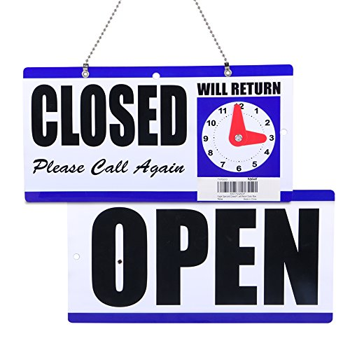 Eagle Open and Closed Sign, Plastic, with Hanging Chain, Double Sides with