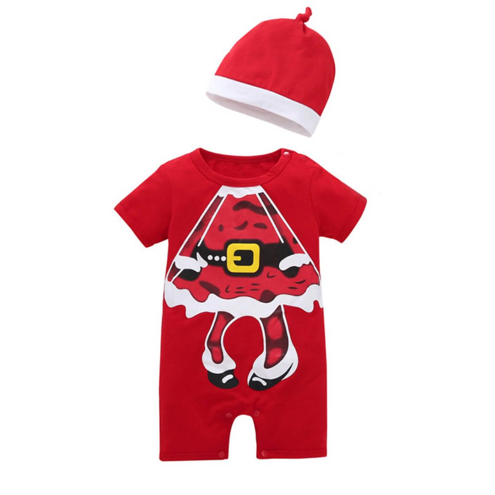 Jojobaby Baby Toddler Boys Girls 2 Piece Long Sleeve Coverall Romper Jumpsuit Bodysuit Playsuit With Hat Cap Set Christmas Clothes Outfits