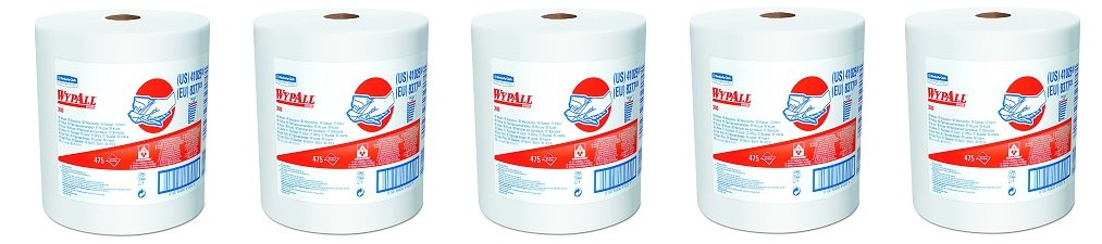 WypAll 41025 X80 Shop Towels, Jumbo Roll, 12 1/2w x 13.4l, White (5-(Pack))