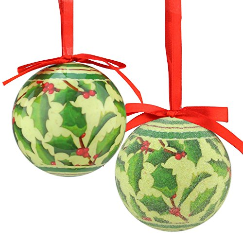 Northlight 7-Piece Red and Green Holly Berry Decoupage Shatterproof Christmas Ball Ornament Set 2.75