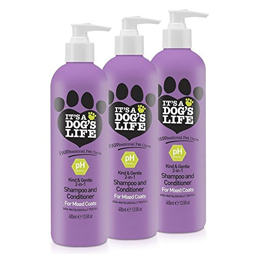 It's A Dog's Life 2 in 1 Deep Cleansing Shampoo and Conditioner for Mixed Coats 400ml 3 Pack